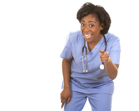 black nurse wearing scrubs on white isolated background Stock Photo - 19457884