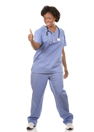 black nurse wearing scrubs on white isolated background Stock Photo - 19445526
