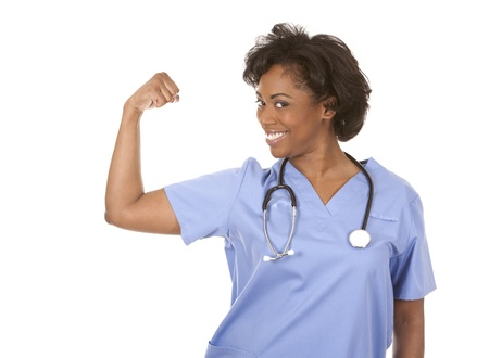 black nurse wearing scrubs on white isolated background Stock Photo - 19458197