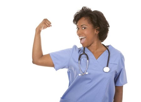 black nurse wearing scrubs on white isolated background Stock Photo - 19458200