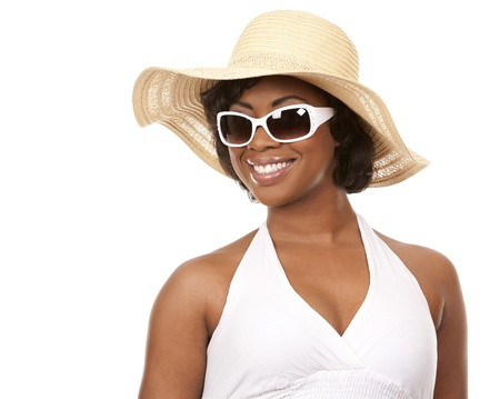 pretty black woman wearing white summer outfit on white background Stock Photo - 19457878