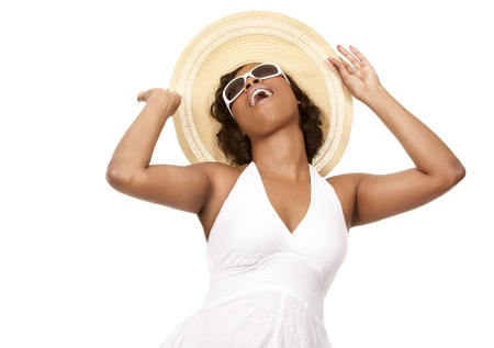 pretty black woman wearing white summer outfit on white background Stock Photo - 19458198