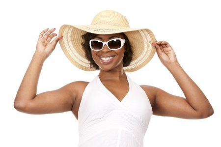 pretty black woman wearing white summer outfit on white background Stock Photo - 19458204