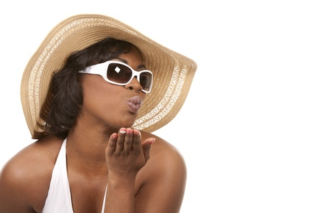 pretty black woman wearing white summer outfit on white background Stock Photo - 19458222