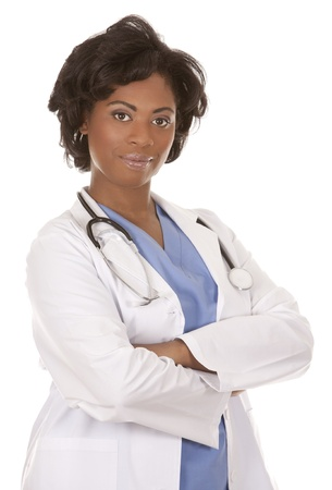 black doctor wearing scrubs and lab coat on white isolated background Banque d'images