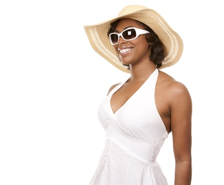 african fashion: pretty black woman wearing white summer outfit on white background