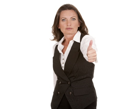 business woman showing thumbs up gesture Stock Photo - 19721517