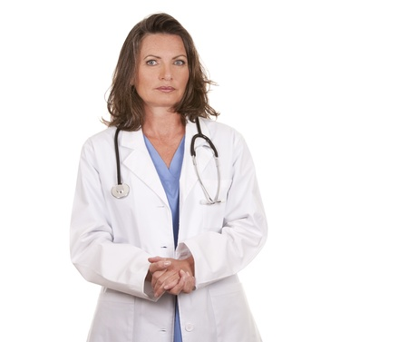 female doctor giving bad news on white isolated background Stock Photo - 19799085