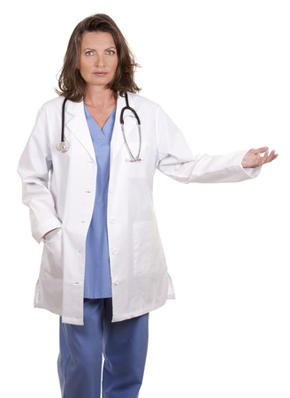 female doctor giving bad news on white isolated background Stock Photo - 19799080