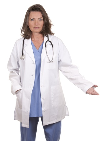 female doctor giving bad news on white isolated background Stock Photo - 19799078