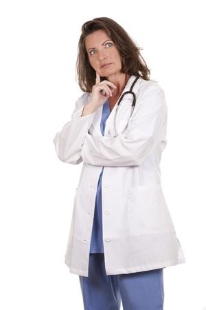 female doctor wearing scrubs on white isolated background Stock Photo - 19799079