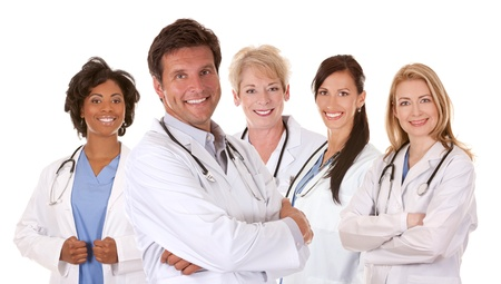 group of doctors on white isolated background photo