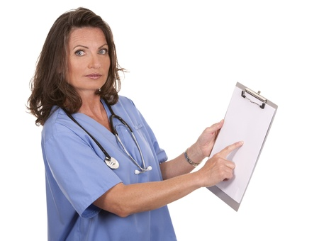female nurse holding files on white background Stock Photo - 19907613