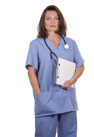 female nurse holding files on white background Stock Photo - 19907594