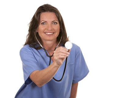 female nurse wearing scrubs on white isolated background Stock Photo - 19907628
