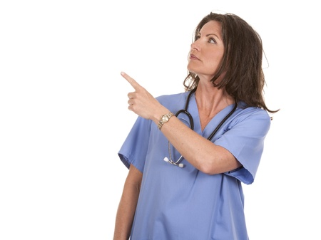 female nurse wearing scrubs on white isolated background Stock Photo - 19907622