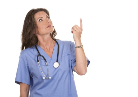 female nurse wearing scrubs on white isolated background Stock Photo - 19907575