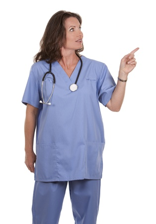 female nurse wearing scrubs on white isolated background Stock Photo - 19907592