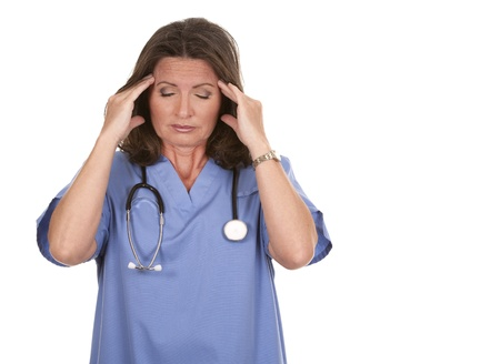 female nurse wearing scrubs on white isolated background photo
