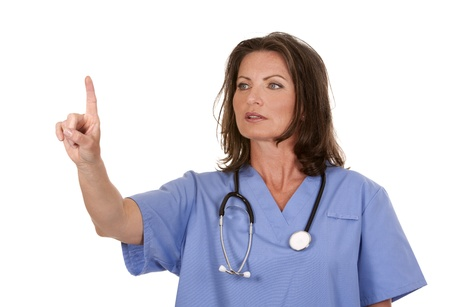female nurse wearing scrubs on white isolated background Stock Photo - 19907591