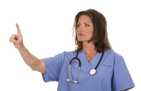 female nurse wearing scrubs on white isolated background Stock Photo - 19907603