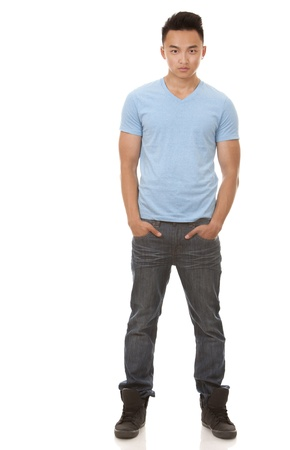 cool guy: casual man wearing blue tshirt and jeans on white background