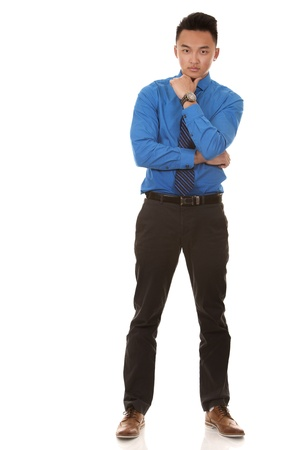 chinese business man wearing blue shirt on white background