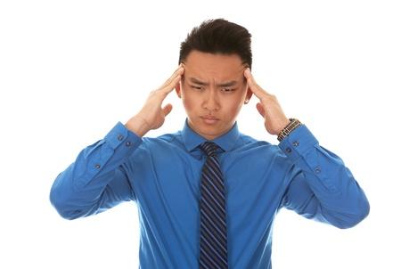 wondering: chinese business man wearing blue shirt on white background