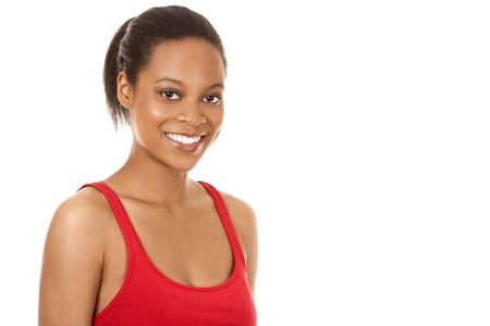 beautiful black woman wearing red fitness outfit on white background Stock Photo - 21047537