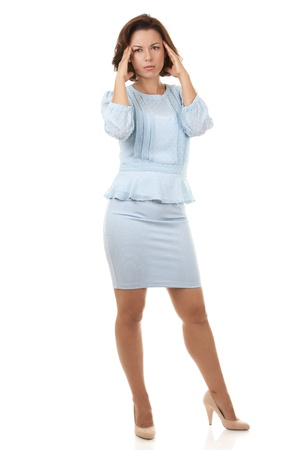 beautiful brunette wearing blue business outfit on white background photo