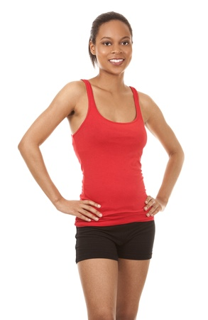 beautiful black woman wearing red fitness outfit on white background Stock Photo - 21133963