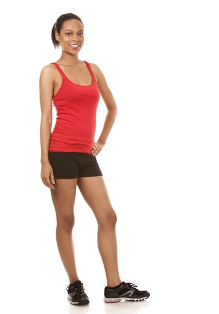 beautiful black woman wearing red fitness outfit on white background Stock Photo - 21133964