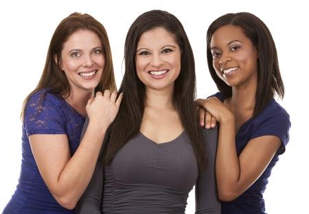 Bellissime tre donne divertirsi su sfondo bianco isolato Archivio Fotografico - 21467539