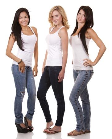 beautiful three women having fun on white background
