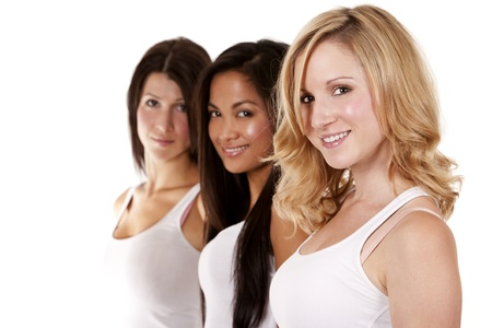 beautiful three women having fun on white background