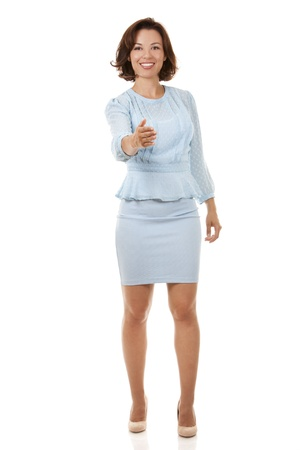 beautiful brunette wearing blue business outfit on white background