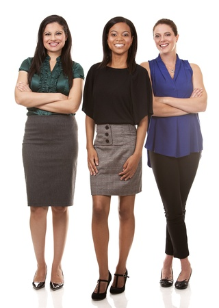 corporate women: group of women wearing office outfits on white isolated background Stock Photo