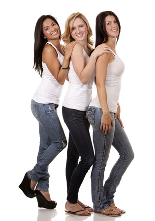 girls youth: beautiful three women having fun on white background