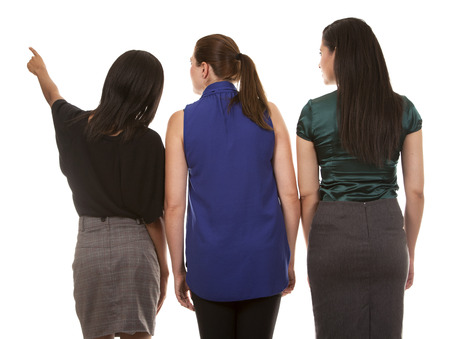 group of women wearing office outfits on white isolated background 版權商用圖片