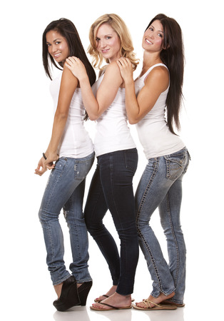 beautiful three women having fun on white background photo