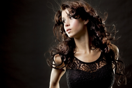 fashion model brunette wearing black outfit photo