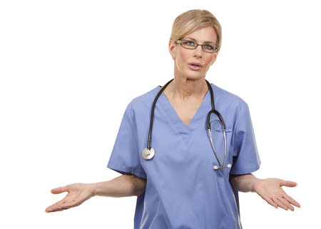 professional practice: beautiful mature doctor giving bad news on white background