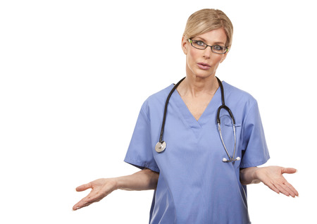 serious doctor: beautiful mature doctor giving bad news on white background
