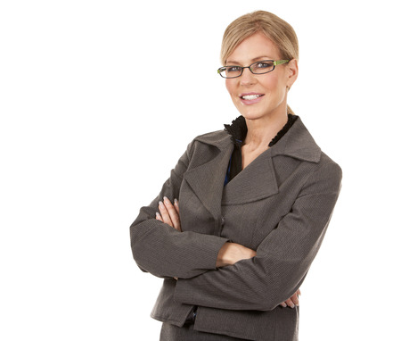 beautiful mature woman wearing business outfit on white background photo