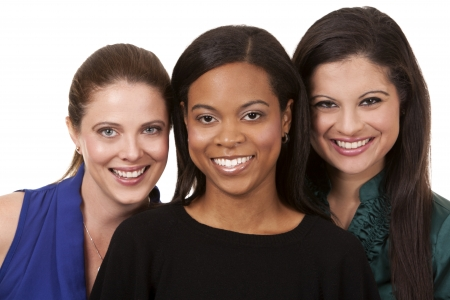 group of women wearing office outfits on white isolated background photo