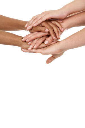 grasp: group of hands holding together on white isolated background