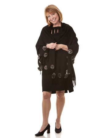 mature woman wearing black outfit on white background Stock Photo - 24108799
