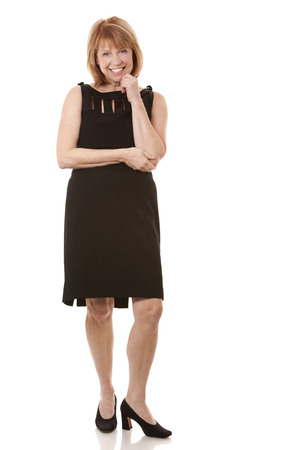 mature woman wearing black outfit on white background Stock Photo - 24108818