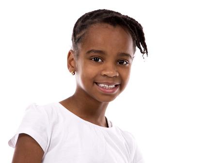 BLACK GIRL: casual black girl posing on white studio background