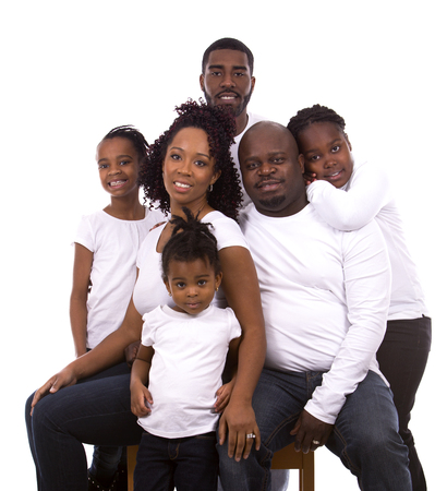jamaican man: casual young black family on white isolated background